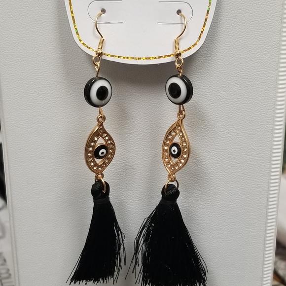 💟3/30  Evil Eye Black Tassel  Earings